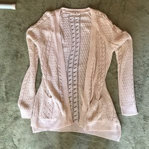 Pink Rose Cream Colored Crochet Cardigan
